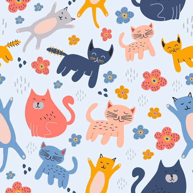 Chats drôles animaux mignon modèle sans couture main dessiné fond de dessin enfantin Vecteur Premium