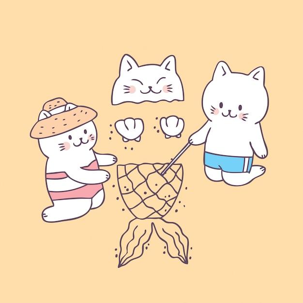 Chats d'été mignon de bande dessinée sur le vecteur de la plage. Vecteur Premium