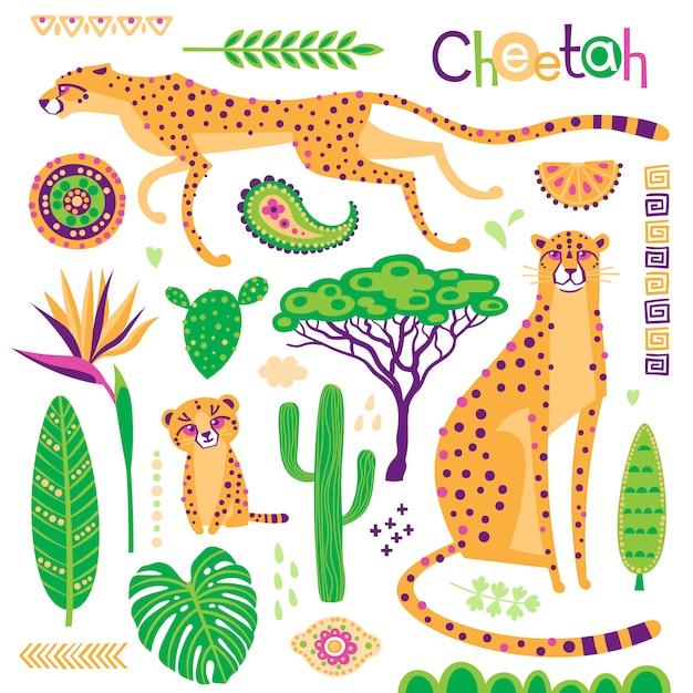 Chats exotiques sauvages, plantes tropicales et jeu de motifs ethniques. guépards et leur petit. Vecteur Premium