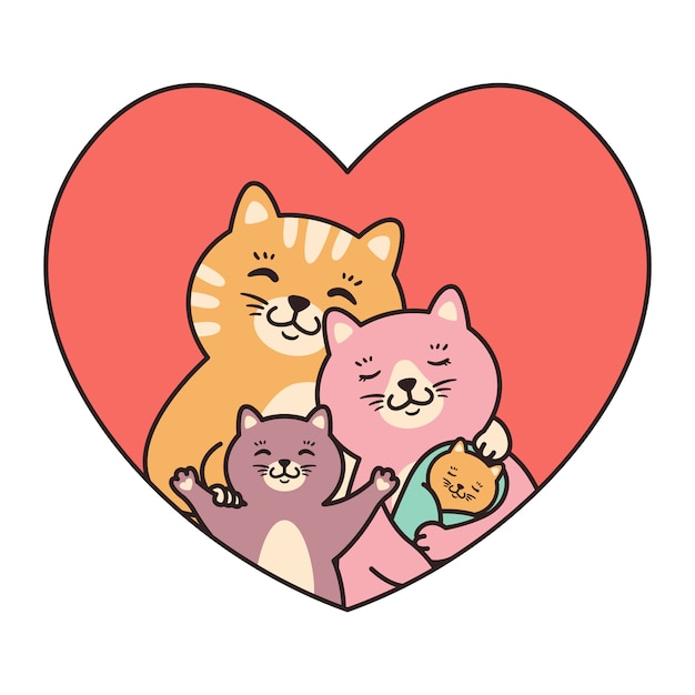Chats Famille Mère, Père, Enfant Et Bébé Nouveau-né Câlin Dans Le Cœur. Vecteur Premium