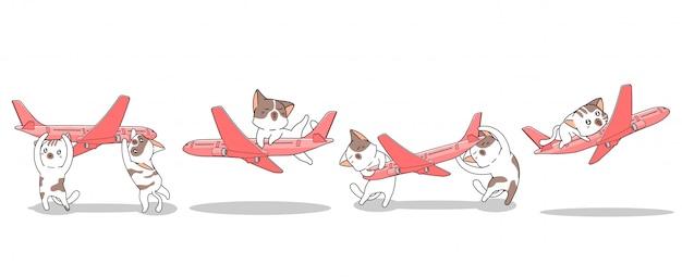 Des Chats Kawaii Dessinés à La Main Jouent à L'avion Vecteur Premium