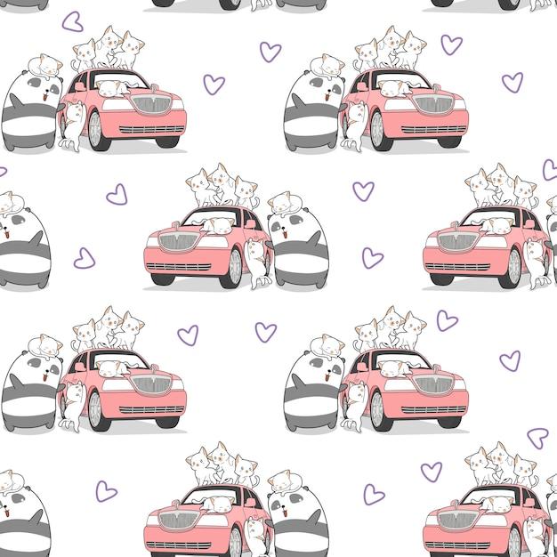 Chats kawaii dessinés sans soudure et panda avec motif de voiture rose. Vecteur Premium