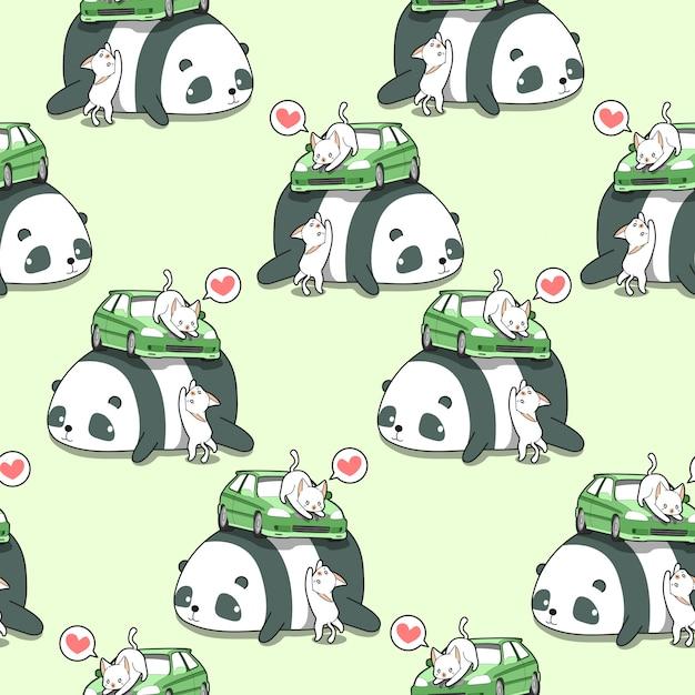 Chats kawaii sans couture avec voiture sur motif panda géant. Vecteur Premium