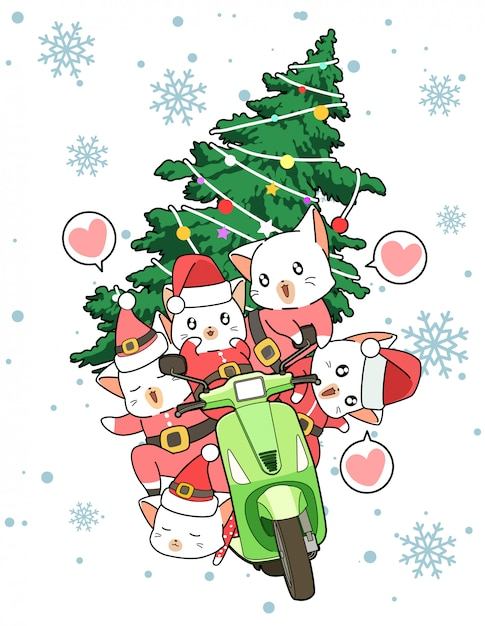 Les Chats Kawaii Santa Conduisent Une Moto Avec Un Sapin De Noël Vecteur Premium