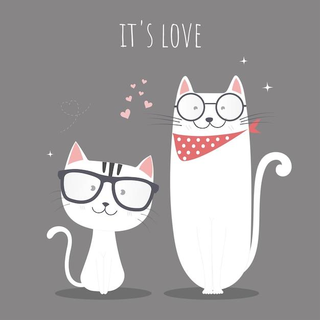 Chats mignons en amour. Vecteur Premium