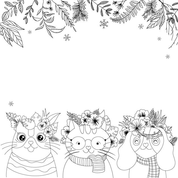 Chats Mignons Et Bordure De Fond De Vecteur De Fleurs, Vecteur Dessiné à La Main, Avec Espace De Copie Pour Votre Conception Vecteur Premium