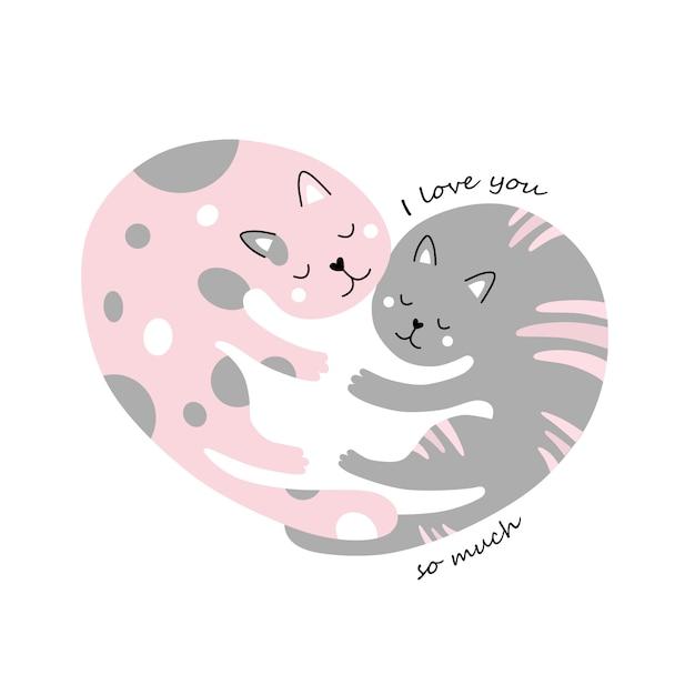 Chats mignons. embrasse. un cœur. je t'aime tellement. Vecteur Premium