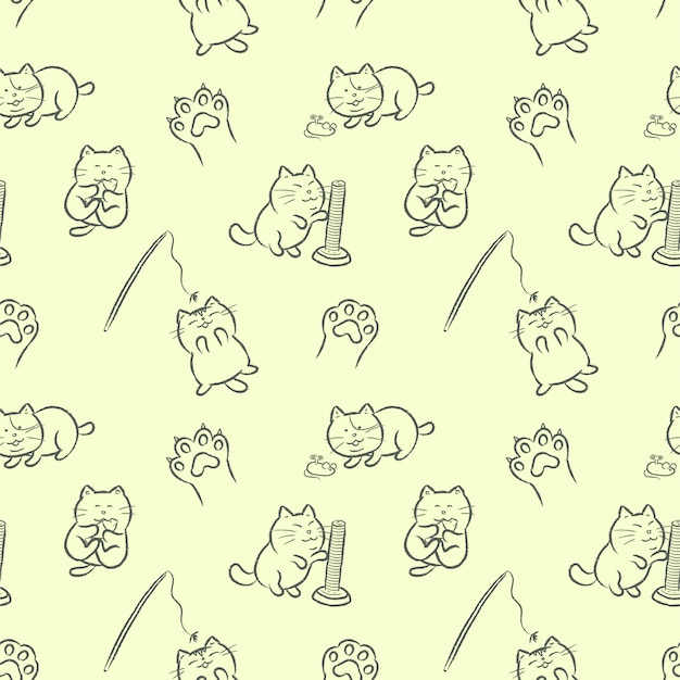 Chats mignons jouant avec des jouets de chat modèle sans couture de style cartoon dessinés à la main. Vecteur Premium