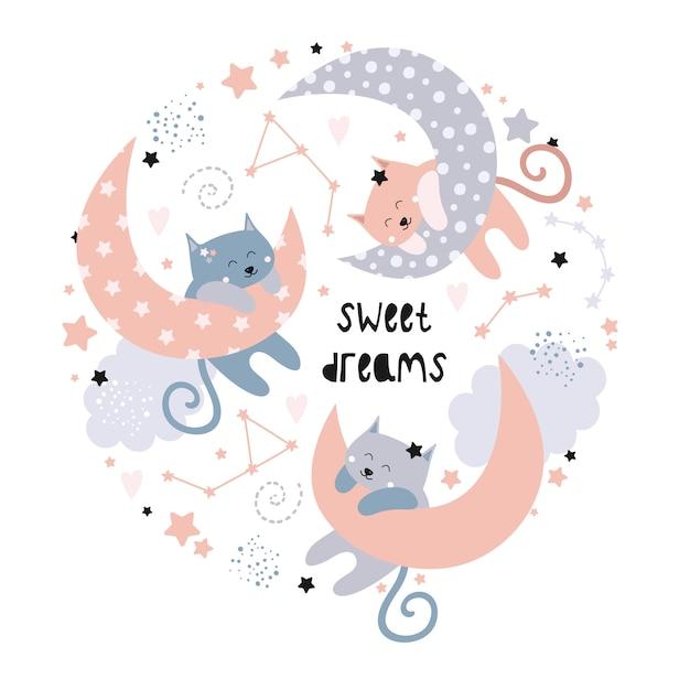 Chats mignons sur la lune. fais de beaux rêves. Vecteur Premium