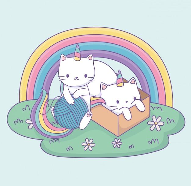 Chats mignons avec personnages kawaii en queue d'arc et boîte en carton Vecteur Premium