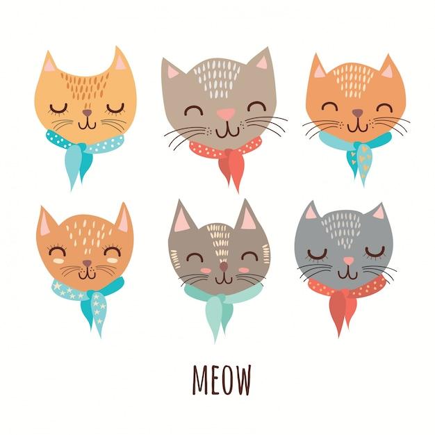 Chats mignons Vecteur gratuit