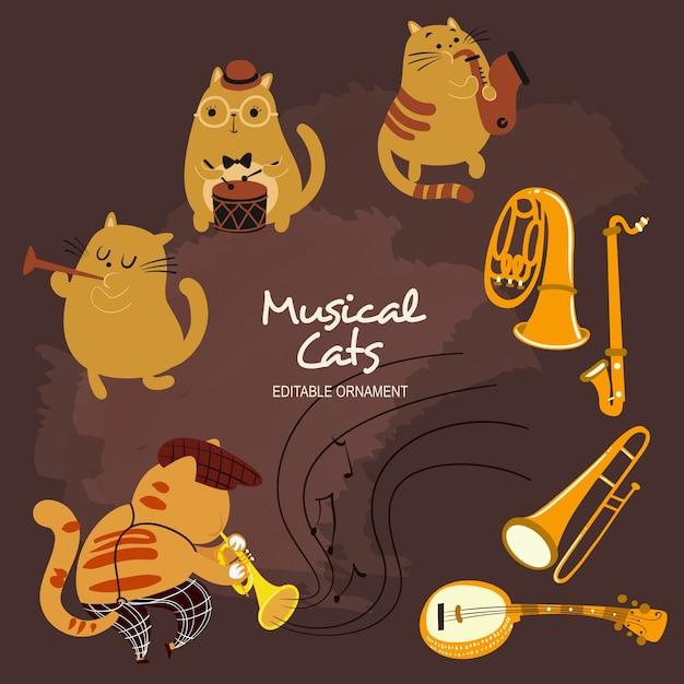 Chats musicaux Vecteur Premium