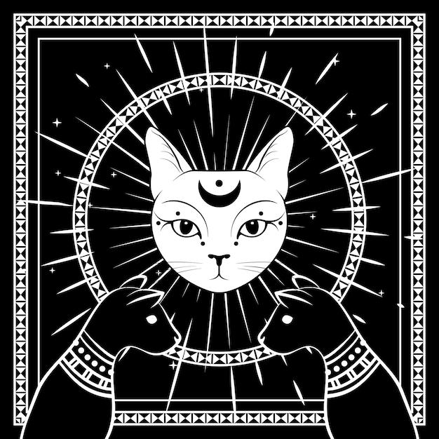 Chats noirs, visage de chat avec lune sur ciel nocturne avec cadre rond ornemental. Vecteur Premium