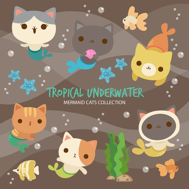 Chats de sirène sous l'eau tropicale Vecteur Premium