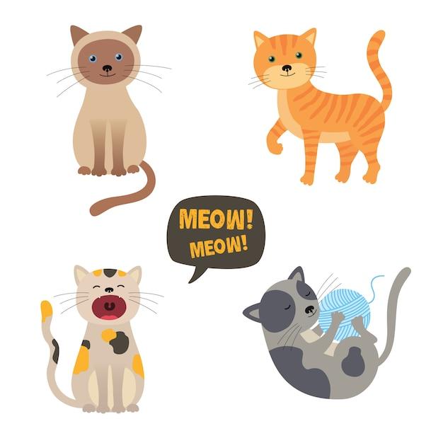 Chats de vecteur. définir des personnages. chat mignon. miaou Vecteur Premium