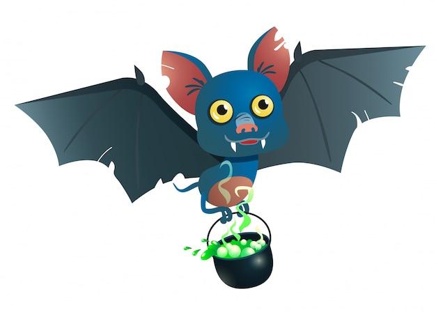 Chaudron portant une chauve-souris avec illustration de la potion Vecteur gratuit