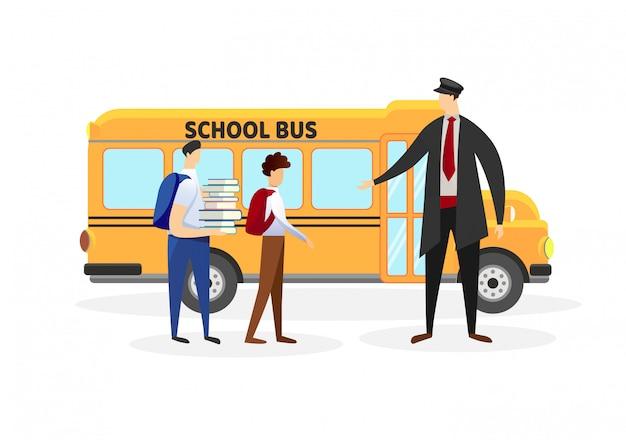 Un chauffeur rencontre des écoliers devant l'autobus jaune. Vecteur Premium