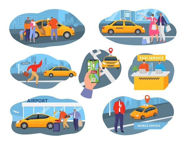 Chauffeur De Voiture De Taxi Et Icônes De Service Avec Transport, Personnes Utilisant Un Ensemble D'illustrations D'éléments De Taxi Et De Taxi. Les Passagers Commandent Un Véhicule De Transport En Taxi, Auto Jaune. Vecteur Premium
