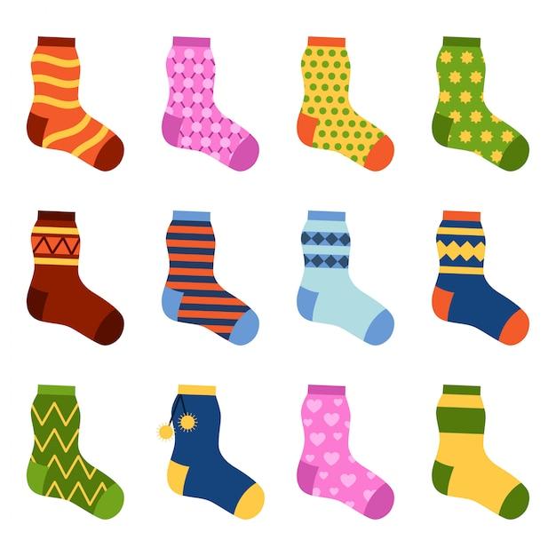 Chaussettes Colorées Design Plat Mis Illustration Vectorielle. Vecteur Premium