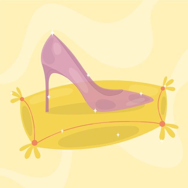 Chaussure Rose En Verre Perdu De Cendrillon Sur Un Oreiller Jaune Vecteur gratuit