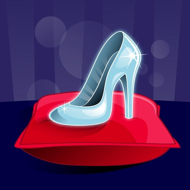 Chaussure En Verre De Cendrillon Sur Oreiller Rouge Vecteur gratuit