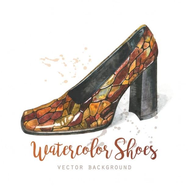 Chaussures de fond d'aquarelle Vecteur gratuit
