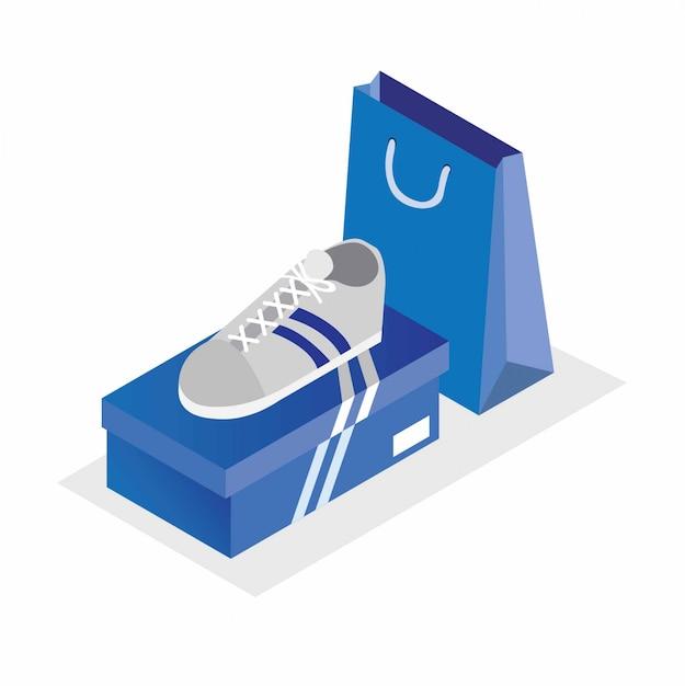 Chaussures De Sport Blanches Avec Boîte Bleue Et Sac à Provisions Illustration Isométrique Modifiable Vecteur Premium
