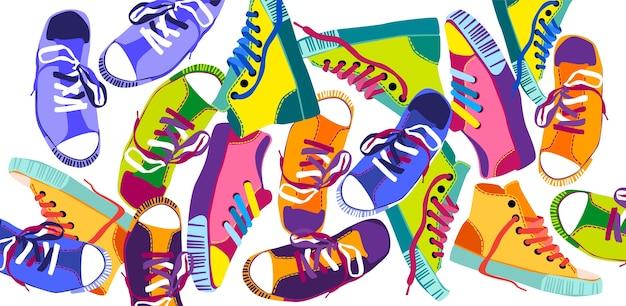 Chaussures de sport colorées, chaussures de sport Vecteur Premium