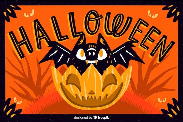 Chauve-souris dans un fond de citrouille halloween Vecteur gratuit
