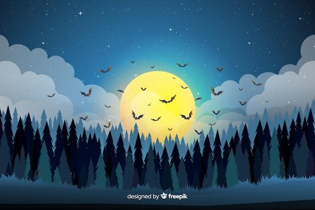 Chauves-souris au-dessus de la forêt fond d'halloween plat Vecteur gratuit