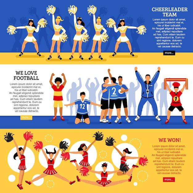 Cheerleaders team flat banners Vecteur gratuit
