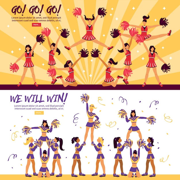 Cheerleaders team flat banners Vecteur gratuit