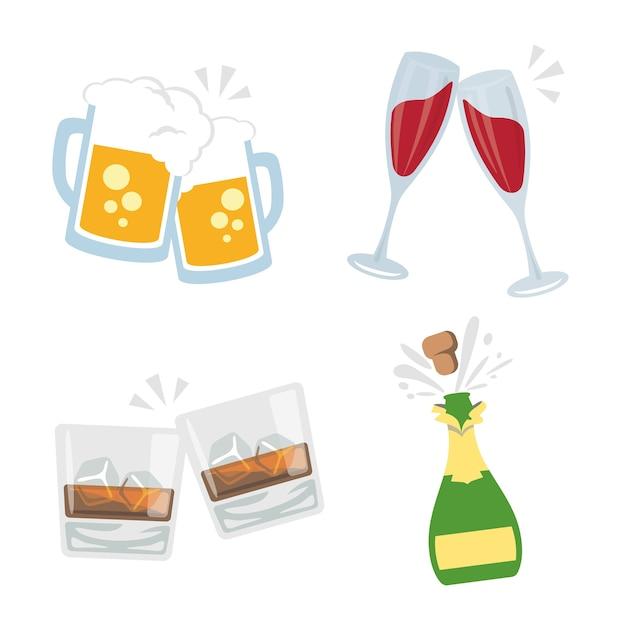 Cheers clink lunettes boissons alcoolisées boisson party vector Vecteur Premium