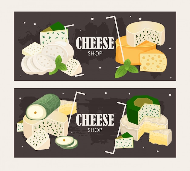 Cheese shop bannerdifférents types de fromages, de délicieux produits laitiers naturels Vecteur Premium