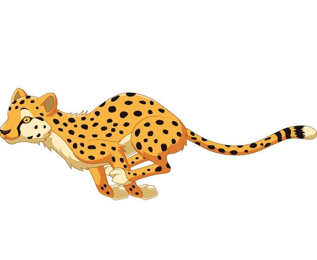 Cheetah de bande dessinée en cours d'exécution Vecteur Premium