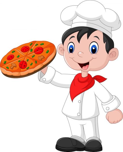 Chef de bande dessinée avec pizza Vecteur Premium