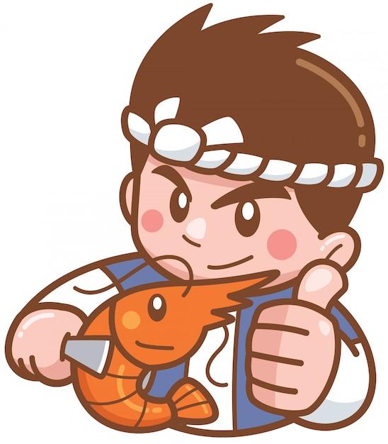 Chef de bande dessinée présentant des crevettes grillées Vecteur Premium