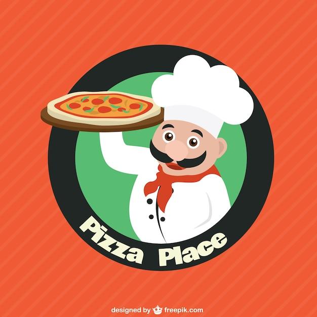 Chef Caractère Avec Logo De Pizza Vecteur Vecteur Premium