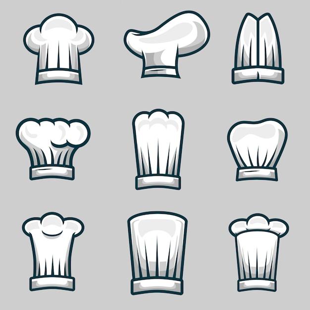 Chef chapeaux objet illustration stock vector ensemble Vecteur Premium