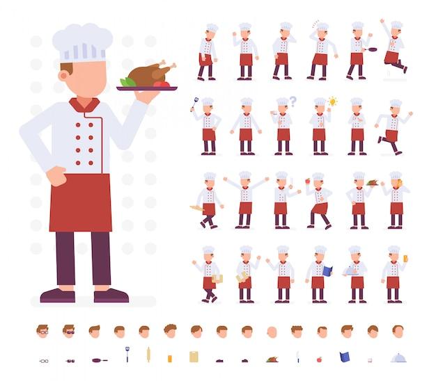 Chef character set dans différentes poses Vecteur Premium