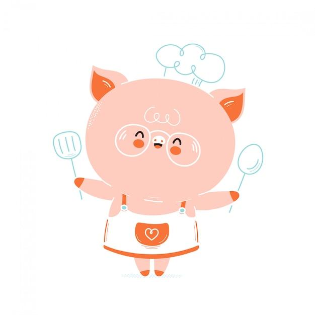 Chef cochon souriant heureux mignon. isolé sur blanc conception de dessin vectoriel personnage illustration, style plat simple. carte de chef cochon mignon Vecteur Premium