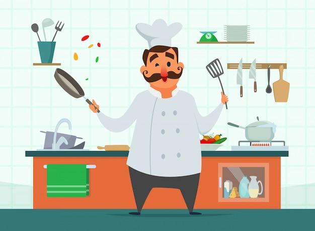 Chef cuisinant dans la cuisine Vecteur Premium