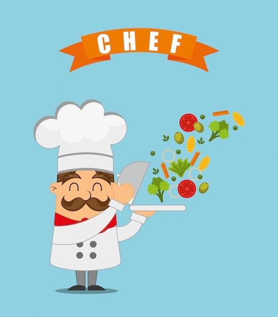 Chef Cuisinant Illustration Vecteur gratuit