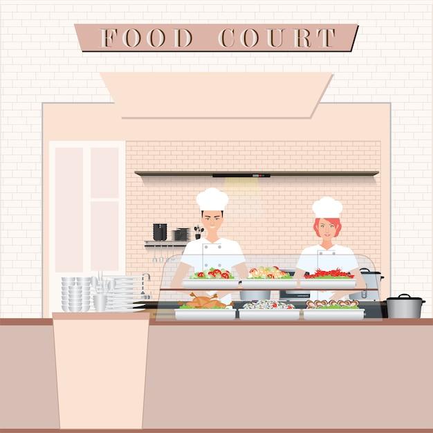 Chef de cuisine à l'aire de restauration dans un centre commercial Vecteur Premium