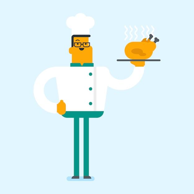 Chef cuisinier caucasien tenant poulet rôti. Vecteur Premium
