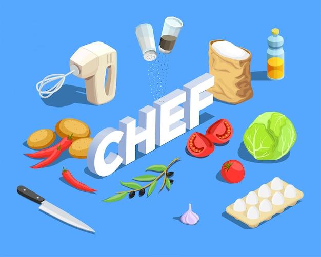 Chef cuisinier fond isométrique Vecteur gratuit