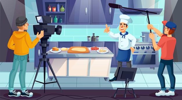 Chef Cuisinier Professionnel En Uniforme De Cuisson De La Pizza Dans La Cuisine Du Restaurant. Vecteur Premium
