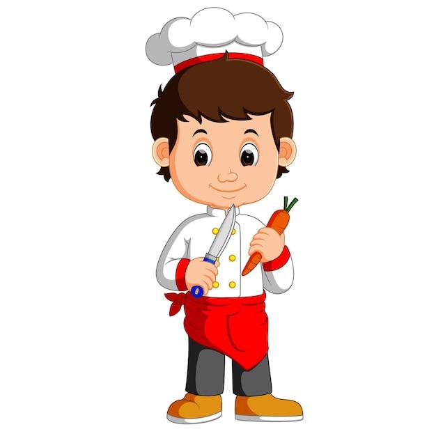 Chef cuisinier tenue cleaver couteau carotte dessin - Cuisinier dessin ...