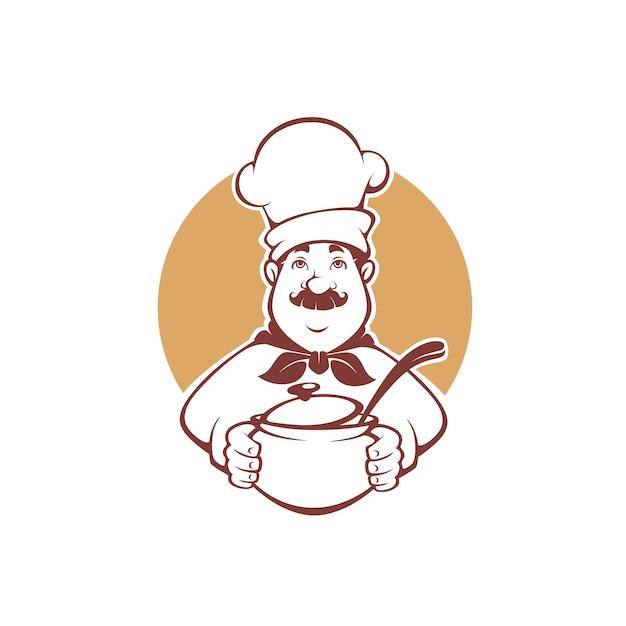 Chef De Dessin Animé Heureux Tenant Un Pot De Soupe, Pour Votre Logo, étiquette, Mascotte Vecteur Premium