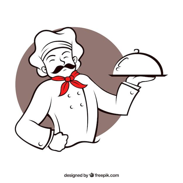 Chef Du Restaurant De Caractère Vecteur Premium